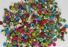 100 / 200 ASSORTED COLOUR Mulberry Paper Roses (only flower head)